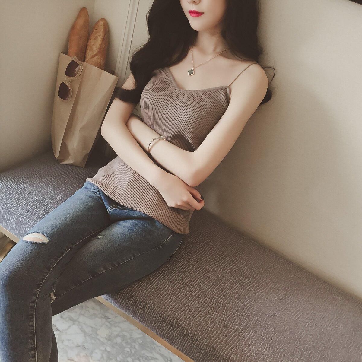 女短款针织无袖狐狸夏韩版外穿显瘦打底背心吊带