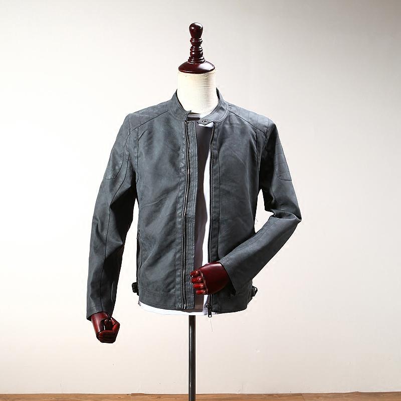 磨砂质感 复古烟灰 男士秋季新品简约扣领修身皮衣休闲夹克外套