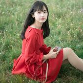 小镇姗姗 红翎 原创让你珍藏在记忆的复古气质红色小翻领连衣裙#