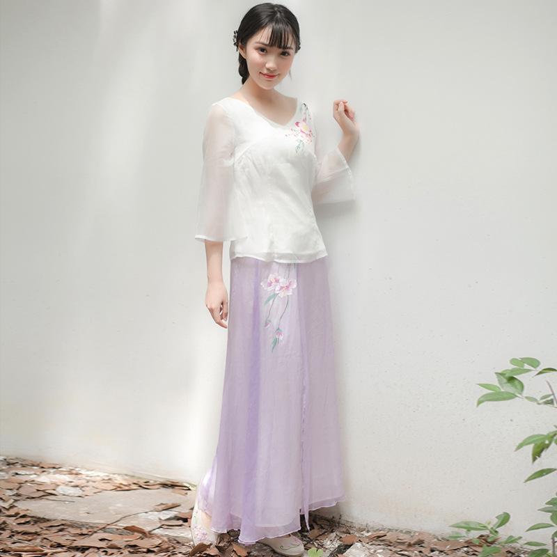 改良汉服女复古文艺改良汉元素手绘中国风女装半身风