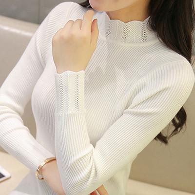秋冬新款韩版花边半高领套头女装长袖短款针织衫修身打底衫毛衣潮