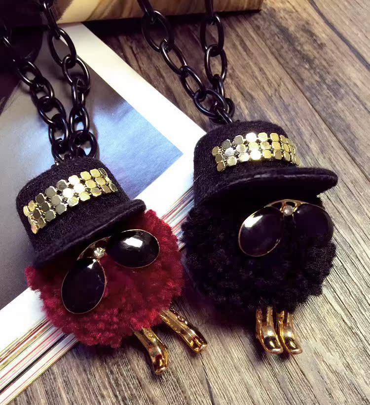 热卖潮品怪咖眼镜毛线球日韩国百搭配饰装饰品项链女士秋冬长款毛