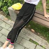 2017夏新款韩版女装裤装字母潮流运动裤休闲女裤黑裤百搭包邮女装