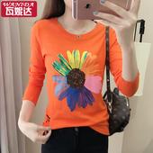 2017春装新款韩版女士印花纯棉上衣太阳花显瘦长袖圆领潮流T恤