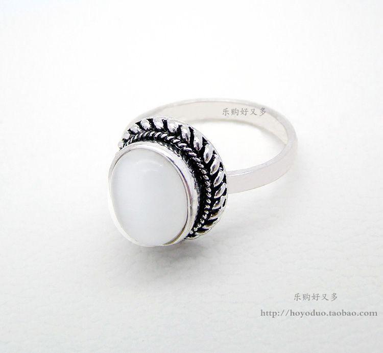 韩版复古宫廷幸运月光猫眼石戒指欧美流行波西米亚食指环百搭流行