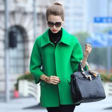 短款双面呢大衣女2019春秋新款单排扣宽松显瘦韩版大码羊毛绒外套图片