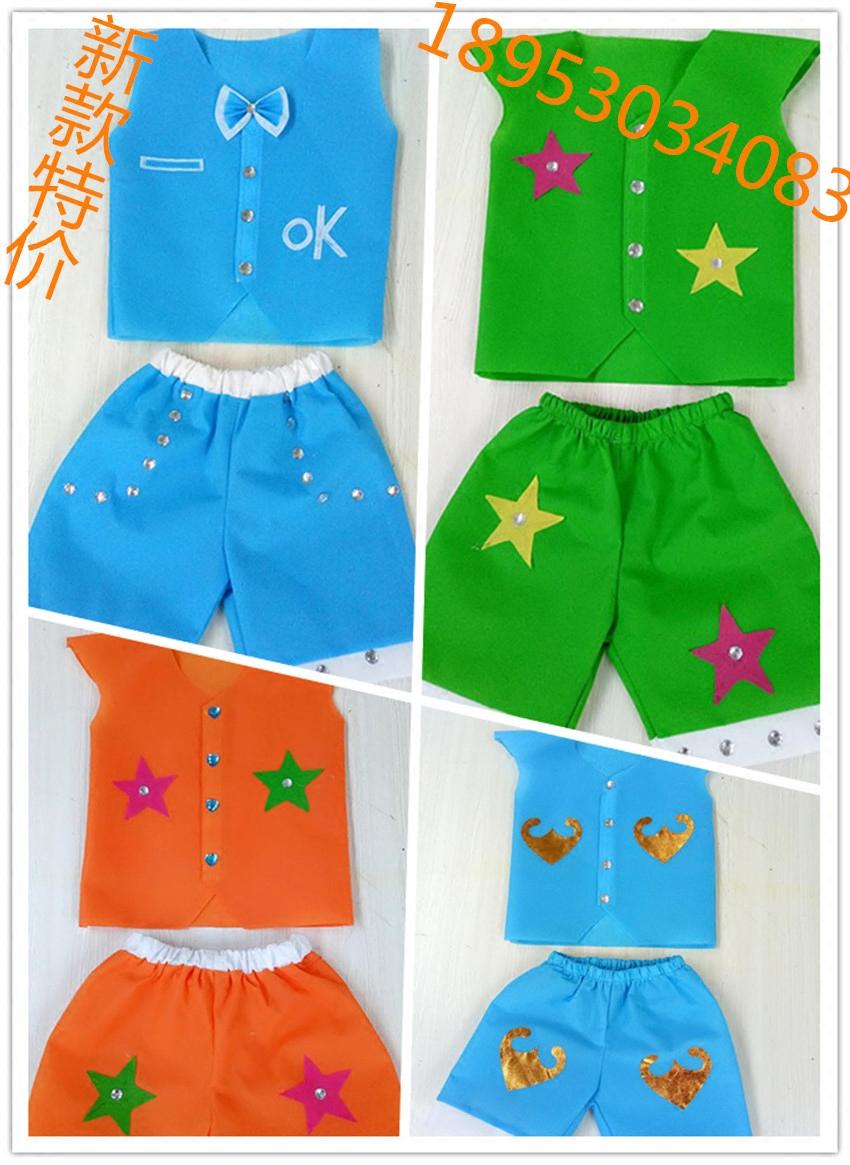 新款手工制作儿童环保服装 无纺布制作男童时装走秀演出服 亲子装