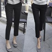 烟管裤女九分裤直筒裤西装裤2017夏季新款裤子休闲裤黑色高腰西裤