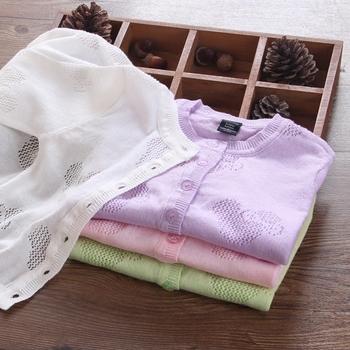 精灵女童超薄宝宝开衫针织衫纯棉