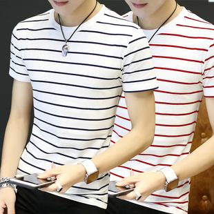 夏季男士短袖t恤衫男装韩版圆领条纹半袖体恤修身纯色打底衣服潮