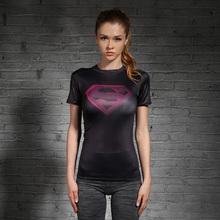 运动T恤 黑粉紧身衣女英雄运动健身服瑜伽训练弹力紧身短袖 包邮