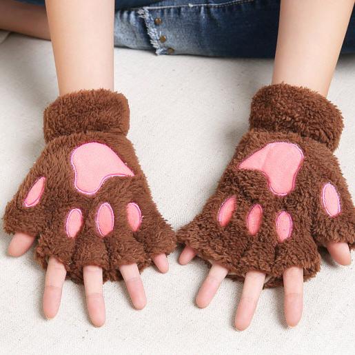 手套女冬学生可爱卡通爪子毛绒保暖韩版情侣半指加厚冬天骑车手套
