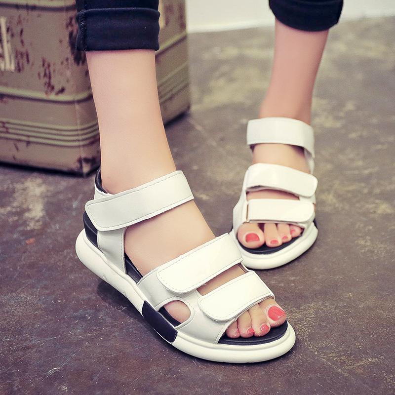 學院學生涼鞋女鞋厚底松糕魔術坡跟中跟增高韓版夏內平底