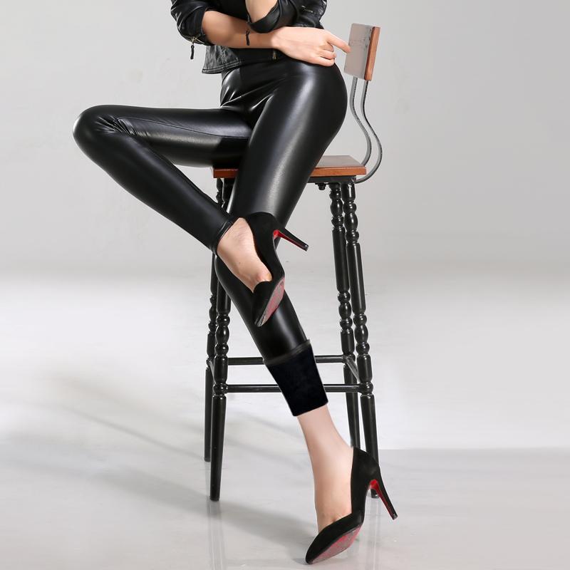 秋冬pu皮裤女加绒外穿高腰薄款打底裤大码加厚显瘦紧身弹力小脚裤