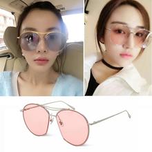 韩国版透明彩色蛤蟆镜金属太阳镜2016新款潮李李同款墨镜男女眼镜