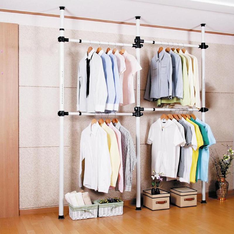 卧室挂衣架落地组合晾晒衣服架衣帽间韩式家具折叠简易伸缩置物架