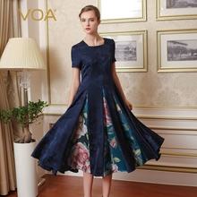 VOA深蓝撞料色织大牡丹花方领短袖收腰大摆型重磅真丝连衣裙A7656图片