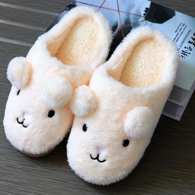 冬季棉拖鞋女可爱地板毛毛拖鞋加厚保暖居家厚底室内卡通毛绒拖鞋