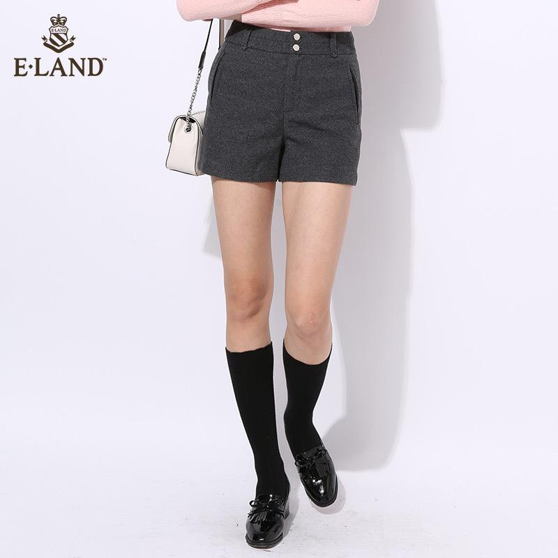 ELAND16年秋冬新品毛呢休闲短裤女式短裤EETC64T02M专柜正品