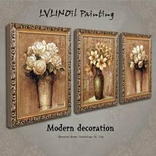 绿牌欧式美式客厅装饰画 简欧沙发背景墙油画花卉有框画挂画三联