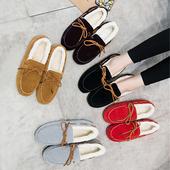 秋冬季保暖豆豆鞋女加绒韩版平底女鞋一脚蹬懒人休闲棉鞋学生瓢鞋