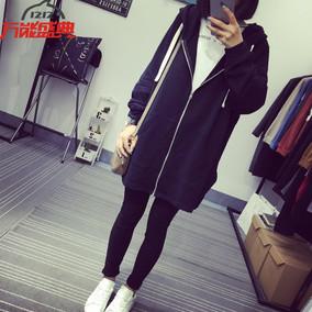 春季新款韩版纯色宽松中长款连帽拉链学生开衫外套女长袖黑色卫衣