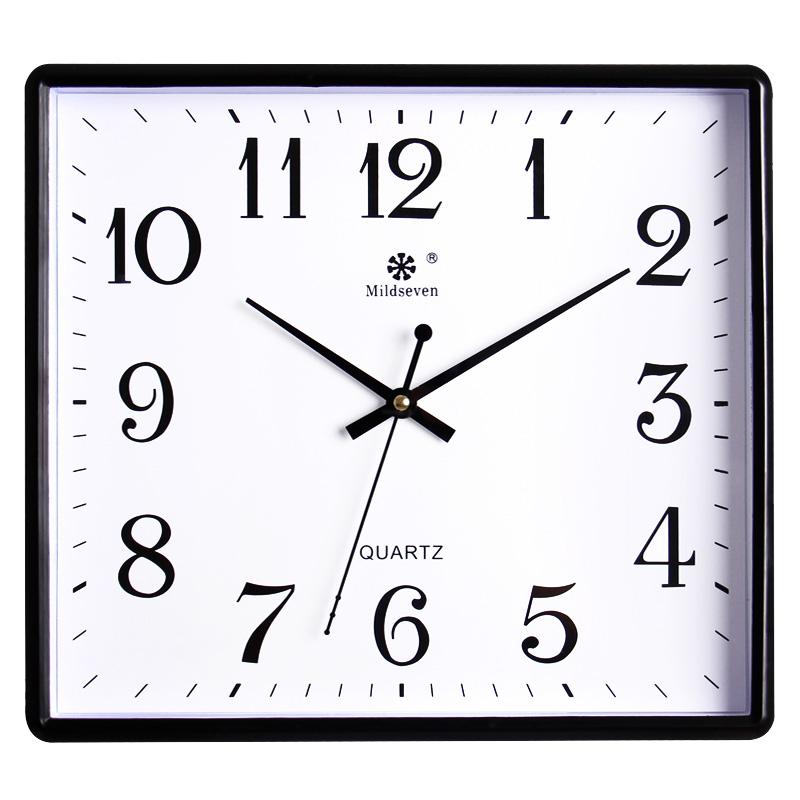 七王星方形简约电子挂钟客厅静音钟表家庭创意时尚艺术挂表石英钟