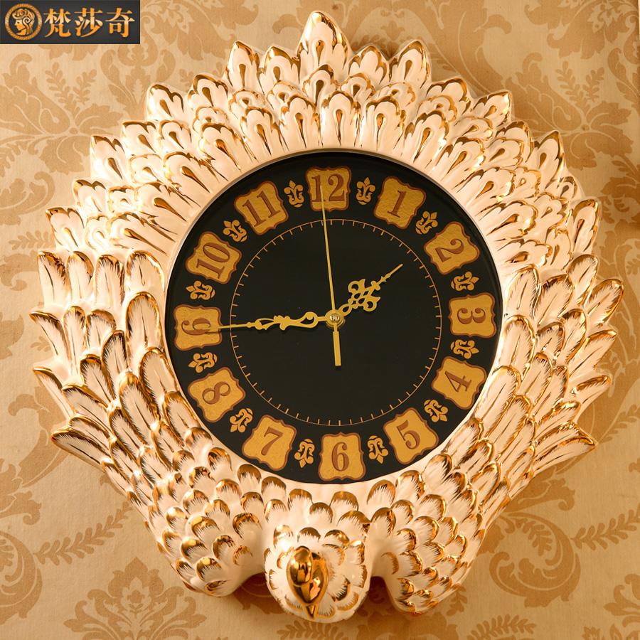 欧式奢华挂钟客厅豪华时钟静音大号复古陶瓷孔雀石英