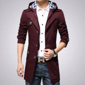 春季潮男装修身风衣韩版大码胖子纯色中长款胖人男士青年外套大衣