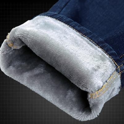 加绒加厚款牛仔裤男士秋冬款保暖带绒青年直筒宽松弹力冬季男裤子