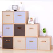 会生活自由组合木格子置物架 格架带门简易书柜简约现代储物柜