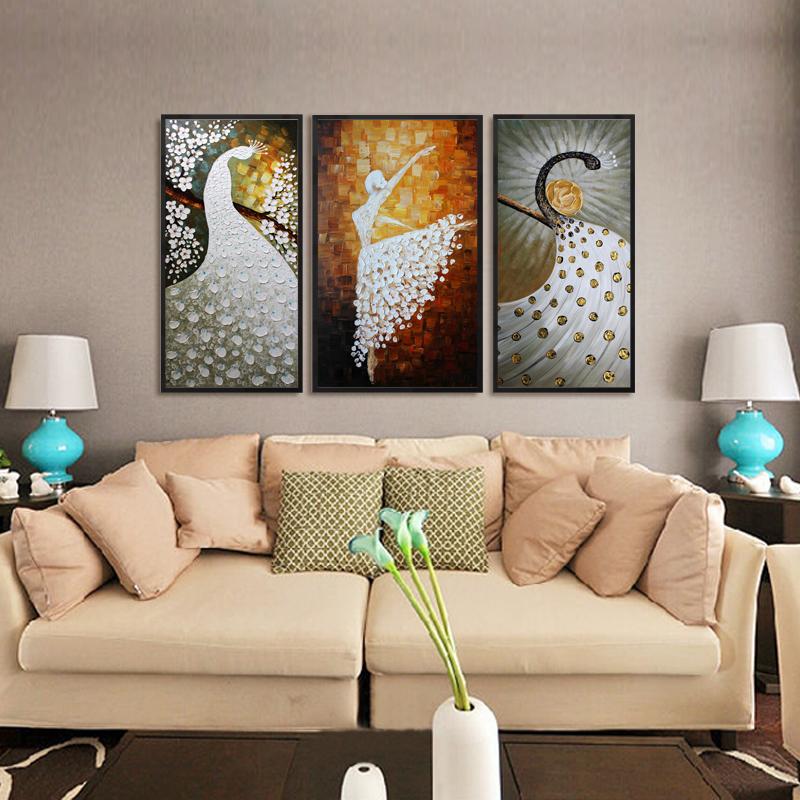 天美欧式油画喷绘沙发背景墙装饰三联芭蕾舞者客厅竖