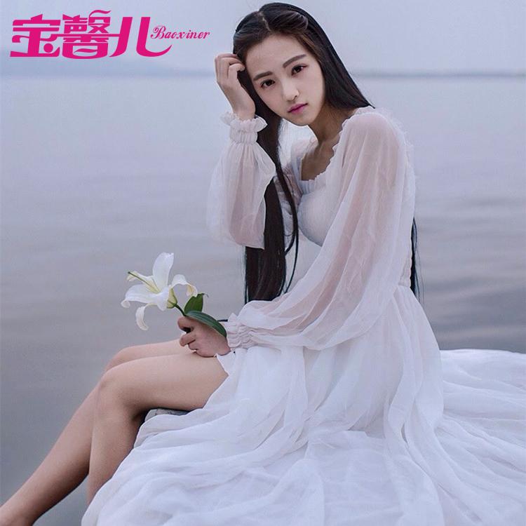 夏季白色波西米亚沙滩裙海边度假长裙文艺森系大摆仙女雪纺连衣裙