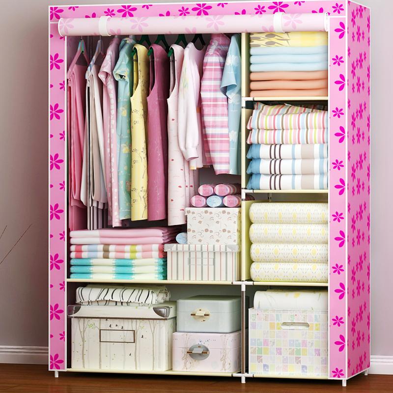 简易衣柜无纺布衣柜钢架组装承重布衣橱布艺衣柜收纳