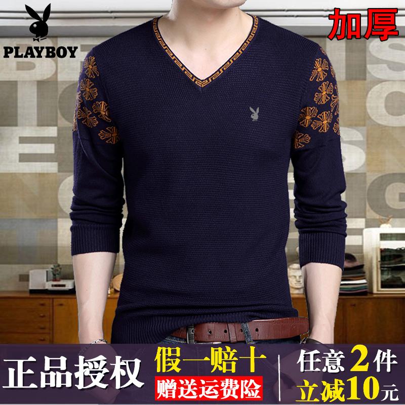 冬季花花公子男士毛衣青年韩版修身v领羊毛衫中年加厚打底针织衫