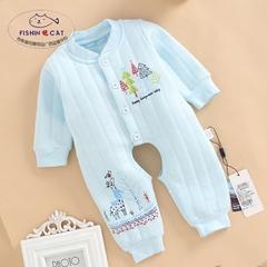 初生婴儿纯棉连裆连体衣