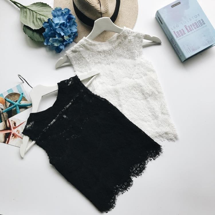 韩版chic镂空名媛气质半高领无袖打底衫外穿背心蕾丝上衣二件套潮