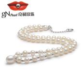 京润 唯爱  强光泽 S925银镶白色淡水珍珠吊珠项链珠宝