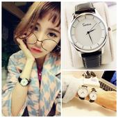 韩国手表女学生韩版时尚潮流复古简约男表女表真皮带情侣手表一对