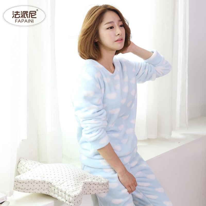 珊瑚绒睡衣女秋冬季套头可爱长袖冬天居家服套装少女家居服法兰绒
