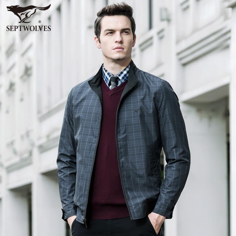 2016春装新款 七匹狼双面夹克 男士立领外套 男装正品茄克 2533