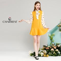 长袖连衣裙假两件裙子少女短裙2016新款春装印花女品牌春款女装