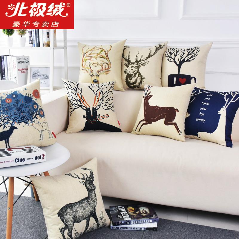 北欧棉麻车用腰靠靠枕办公室绒抱枕麋鹿靠垫北极简约靠背沙发
