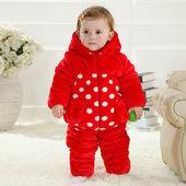 婴儿服装套装冬季宝宝加厚棉衣三色瓢虫套装新生儿外出服1-3岁