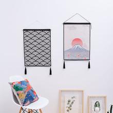 日式简约挂毯卧室床头挂画玄关餐厅壁毯布艺装饰画客厅沙发背景画