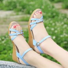凉鞋女夏2017新款坡跟女鞋牛筋底露趾中跟厚底平底舒适防滑妈妈鞋