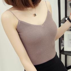 2017夏季新款韩版性感V领针织吊带背心女打底衫短款修身显瘦女装
