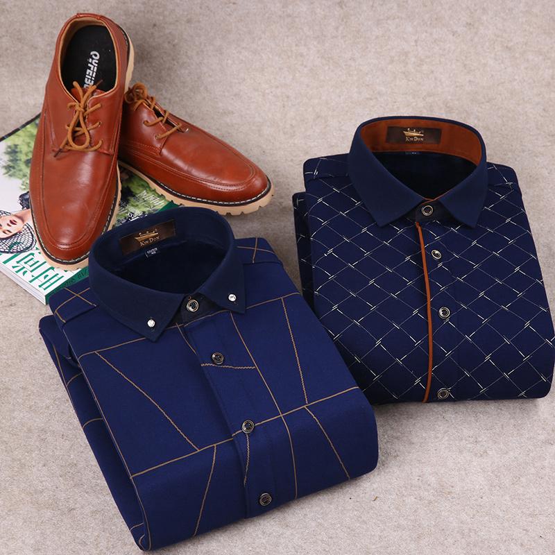 金盾男装冬季针织加厚加绒保暖衬衫男印花复合衬衣男士长袖寸衫