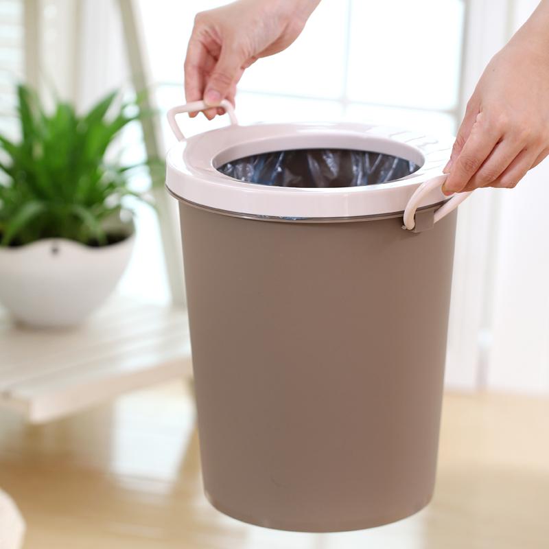 韩式 创意欧式卫生间大号垃圾桶纸篓圆形家用客厅厨房无盖垃圾桶