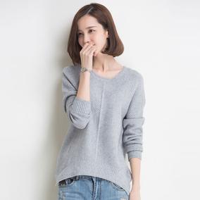 秋冬羊绒衫女圆领套头短款针织衫韩版大码宽松羊毛打底衫毛衣外套